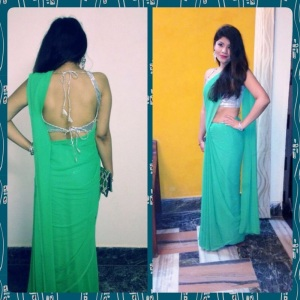 Backless silver blouse, mint green saree