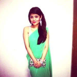 Mint green saree and silver backless blouse, Clutch - Forever21