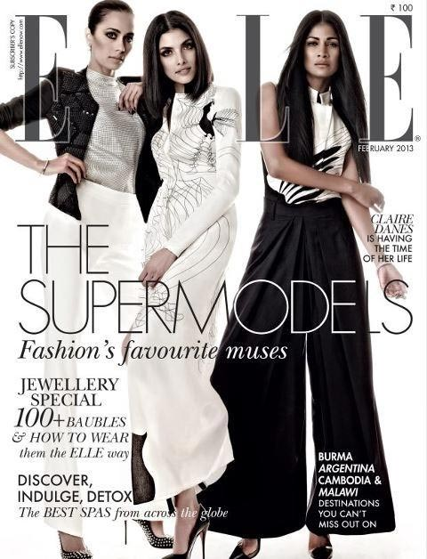 Sonalika Sahay on the cover of ELLE with models Indrani Dasgupta and Carol Gracias.